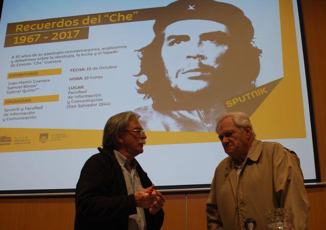 Juan Martín Guevara y Samuel Blixen en la Facultad de Información y Comunicación de la UdelaR, Montevideo.