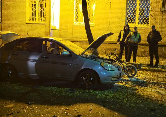 El lugar de la explosión en Kiev, Ucrania