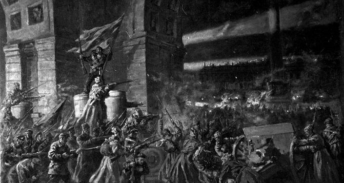 Reproducción de la pintura 'Asalto al Palacio de Invierno', del pintor Pavel Sokolov-Skalia