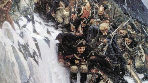 Fragmento de 'Las tropas del generalísimo Suvórov cruzando los Alpes' de Vasili Súrikov (1848–1916) - Sputnik Mundo