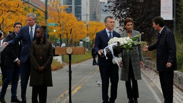 El presidente de Argentina, Mauricio Macri, rinde homenaje a las víctimas del atentado en Nueva York - Sputnik Mundo