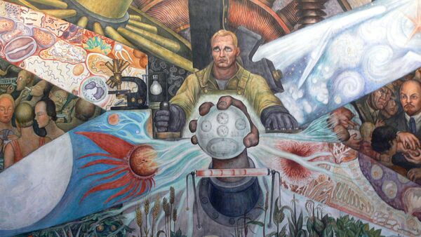 Parte del mural El Hombre en la encrucijada (1934) por Diego Rivera, en el Palacio de Bellas Artes de Ciudad de México, donde supuestamente aparece Lenin. - Sputnik Mundo
