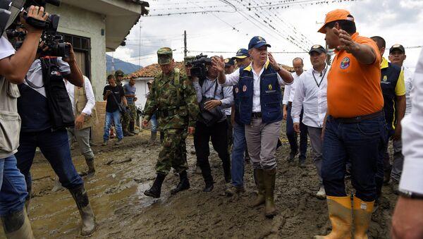 El presidente de Colombia, Juan Manuel Santos, en el municipio de Corinto - Sputnik Mundo