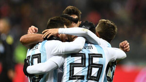 Selección de Argentina durante un partido con la selección de Rusia en Moscú - Sputnik Mundo