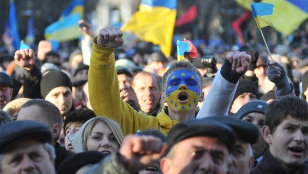 Los partidarios del Acuerdo de asociación de Ucrania y la UE - Sputnik Mundo