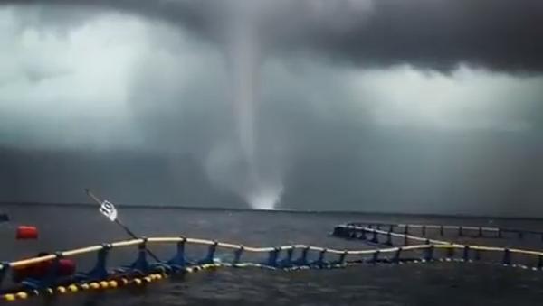 El terror de ver de cerca un impresionante 'tornado' marino - Sputnik Mundo