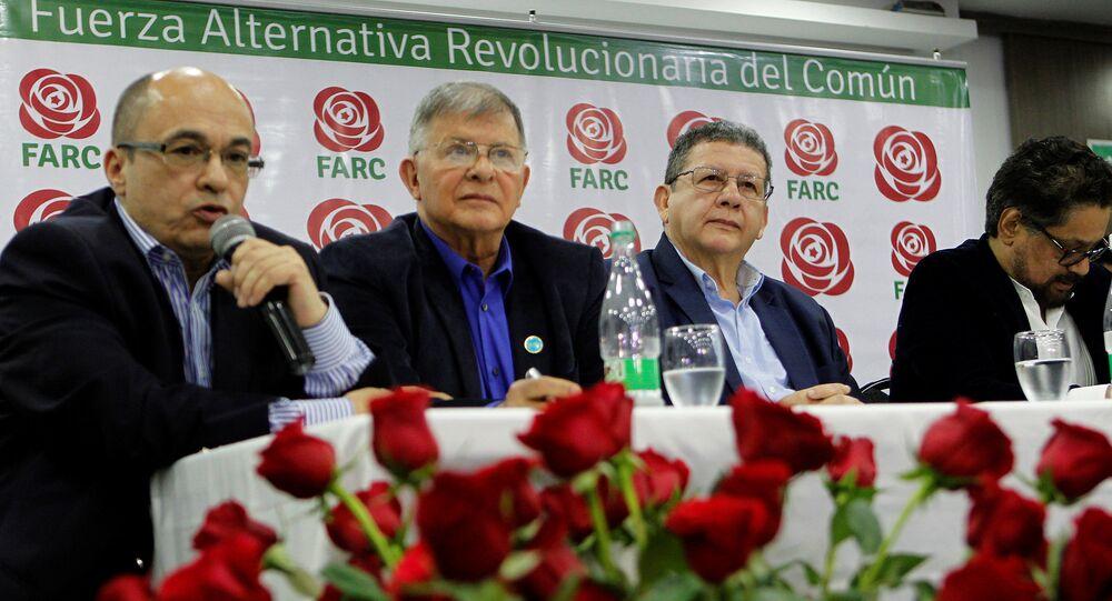 Los miembros del partido de izquierda Fuerza Alternativa Revolucionaria del Común (FARC)