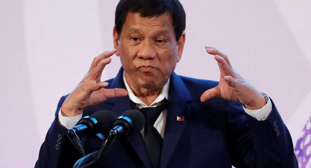 Rodrigo Duterte, el presidente de Filipinas durante la rueda de prensa al término de la cumbre de la ASEAN