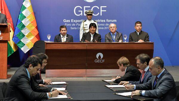 El presidente de Bolivia, Evo Morales, durante la sesión del IV Foro de Países Exportadores de Gas - Sputnik Mundo