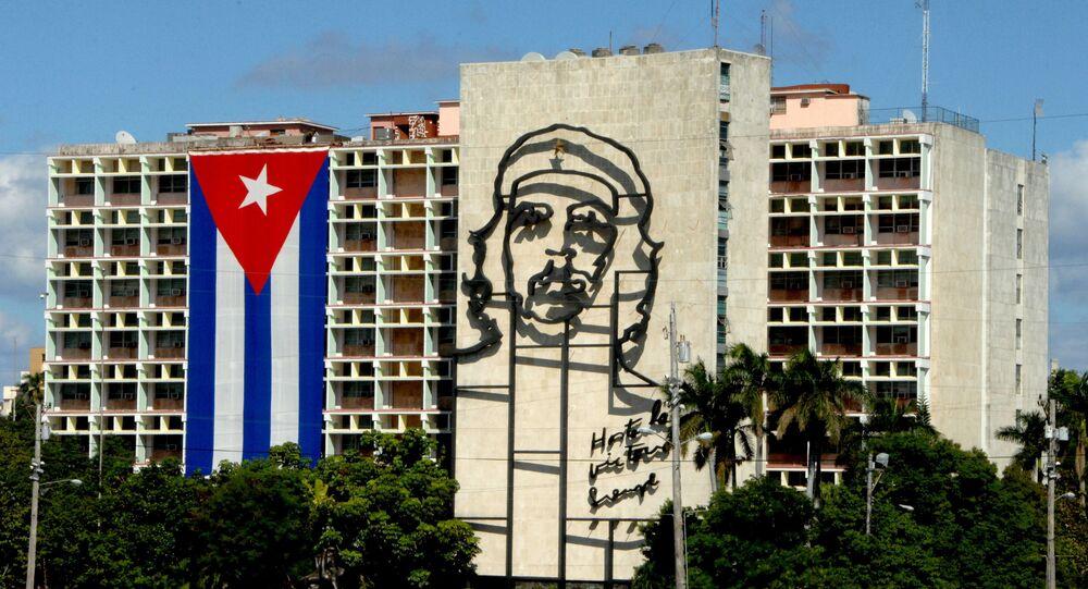 Bandera cubana en La Habana, la capital de Cuba