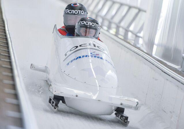 Un entrenamiento de los atletas de bobsleigh rusos (archivo)
