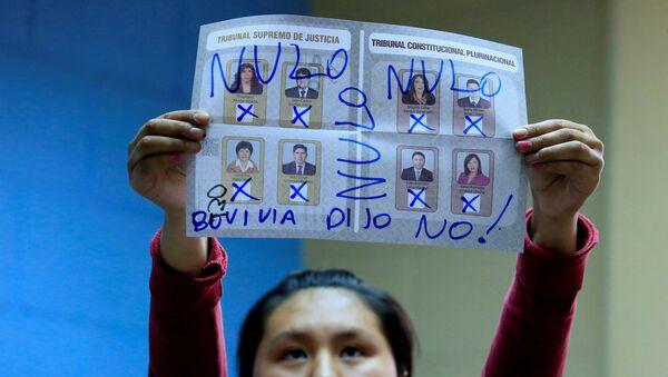 El voto nulo en elecciones judiciales en Bolivia - Sputnik Mundo