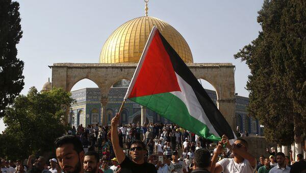 Un hombre con la bandera de Palestina en Jerusalén - Sputnik Mundo