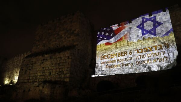 Banderas de EEUU y Israel en Jerusalén - Sputnik Mundo