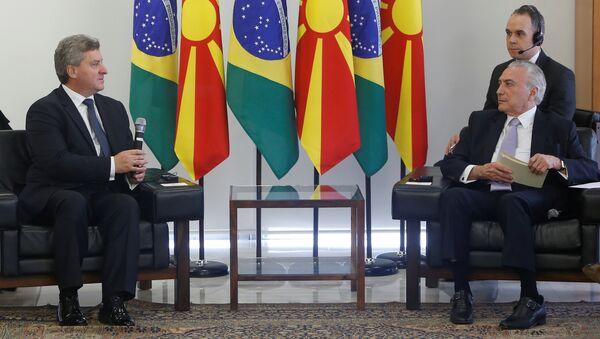 El presidnte de Macedonia, Gjorge Ivanov, y el presidente de Brasil, Michel Temer - Sputnik Mundo