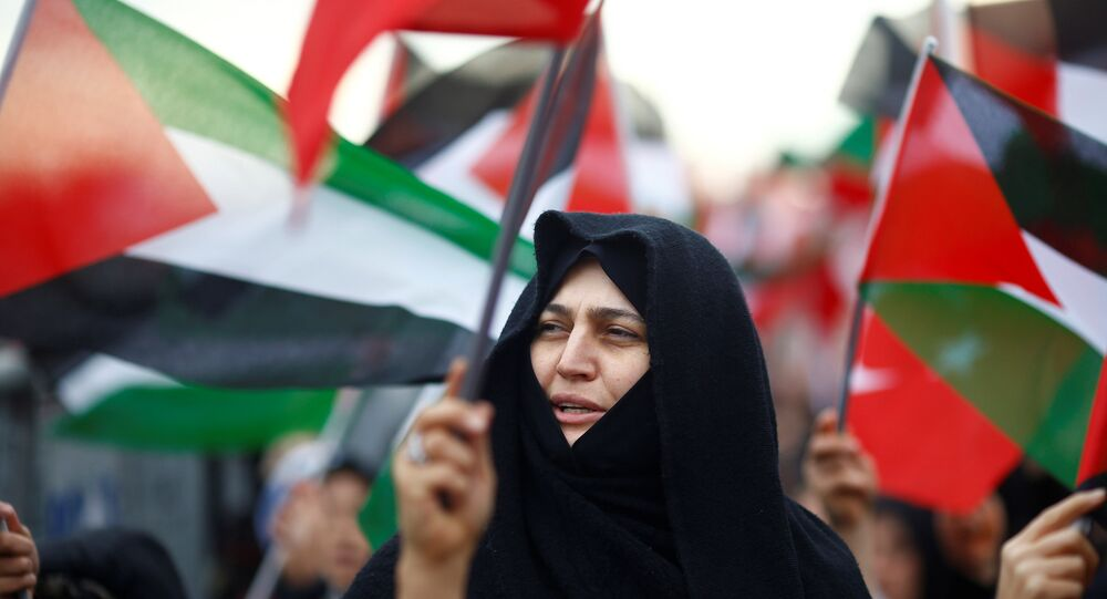Protestantes con las banderas de Palestina (archivo)