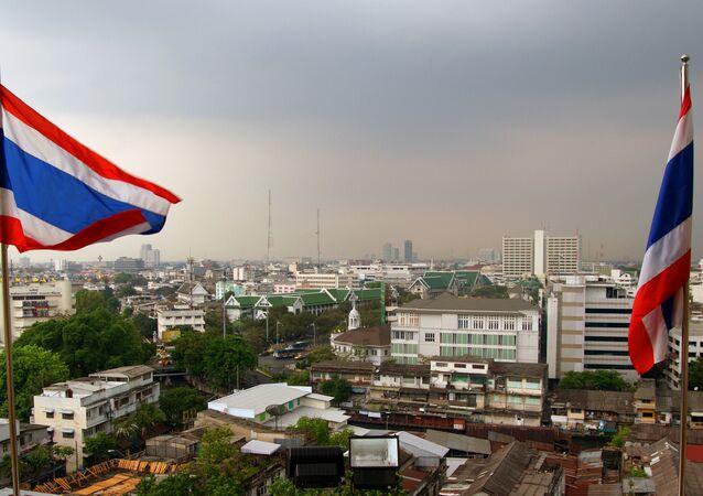 Banderas de Tailandia en Bangkok, la capital del país