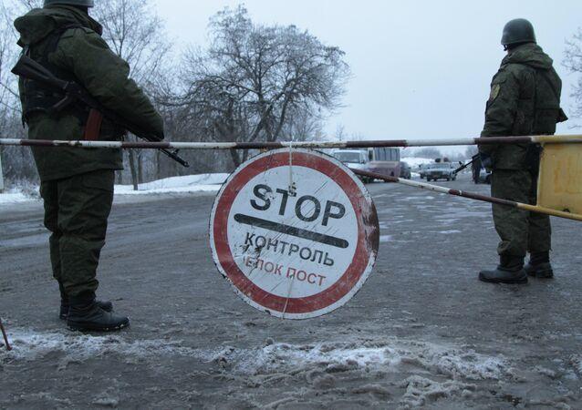 Un puesto de control en la región de Donetsk (archivo)