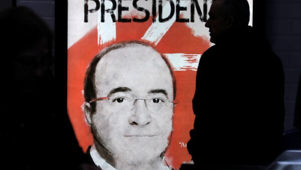 Una pancarta Miquel Iceta, candidato del PSC - Sputnik Mundo
