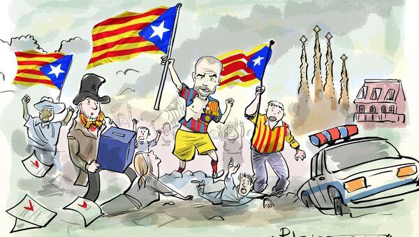 Pep Guardiola guiando a los independentistas - Sputnik Mundo