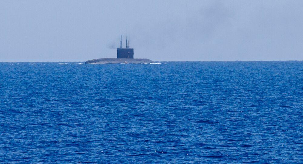 Un submarino ruso en el mar Mediterráneo