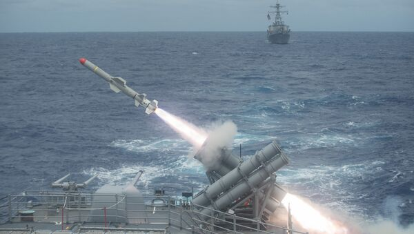El lanzamiento de misil Harpoon - Sputnik Mundo