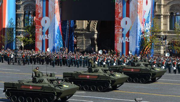 Los vehículos de combate BMD-4M, durante el desfile de la Victoria en la Plaza Roja de Moscú (2017) - Sputnik Mundo