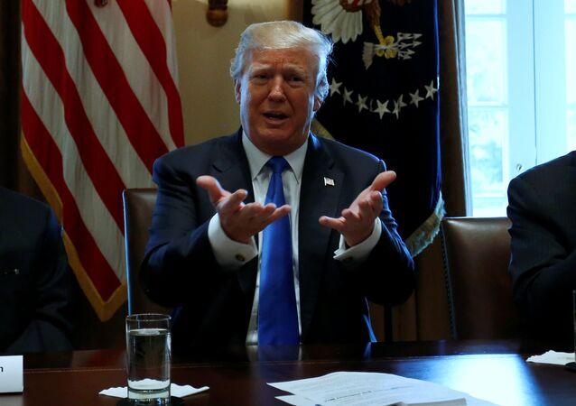 El presidente de EEUU, Donald Trump (centro), durante una de las reuniones sobre la reforma migratoria (archivo)