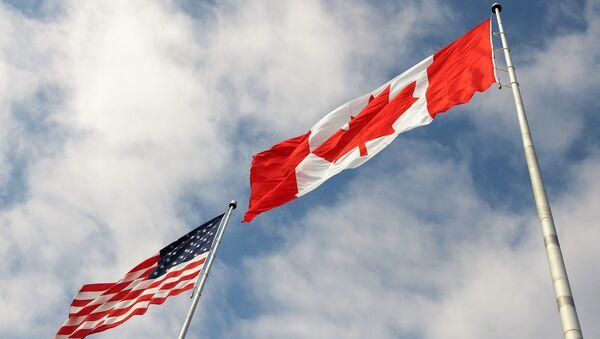 Banderas de EEUU y Canadá - Sputnik Mundo