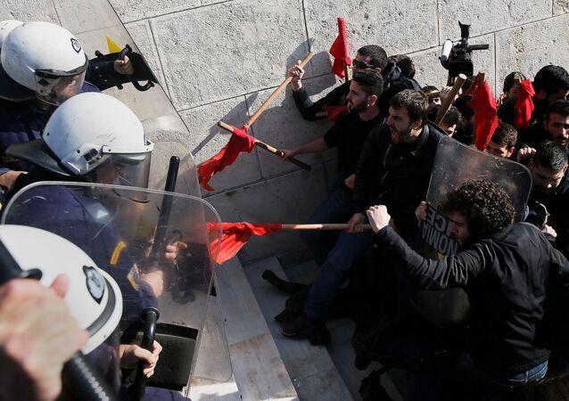 Protestas en Atenas, capital Grecia