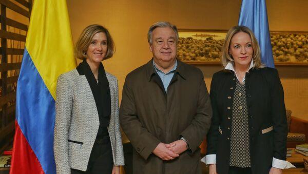 Viceministra de Relaciones Exteriores de Colombia, Patti Londoño, Secretario General de la ONU, António Guterres, y Embajadora de Colombia ante las Naciones Unidas, María Emma Mejía - Sputnik Mundo