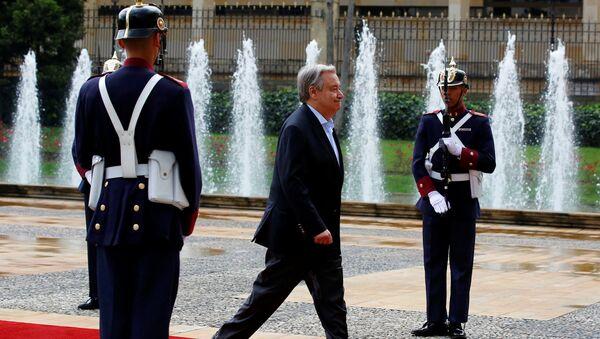 António Guterres, secretario General de la Organización de Naciones Unidas, en Bogotá - Sputnik Mundo
