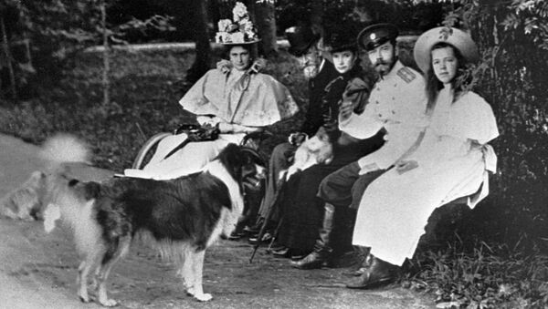 Nicolás II, Alexandra Fiódorovna y su hija Olga junto a sus mascotas - Sputnik Mundo