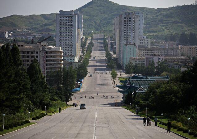 Una autopista en Kaesong, Corea del Norte