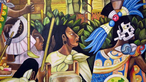 Un mural sobre los aztecas - Sputnik Mundo