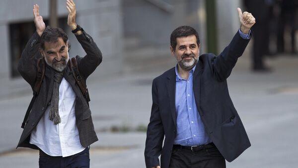 El expresidente de la Asamblea Nacional Catalana, Jordi Sánchez, y el líder de Omnium Cultural, Jordi Cuixart (archivo) - Sputnik Mundo