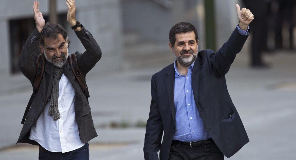 El expresidente de la Asamblea Nacional Catalana, Jordi Sánchez, y el líder de Omnium Cultural, Jordi Cuixart (archivo)