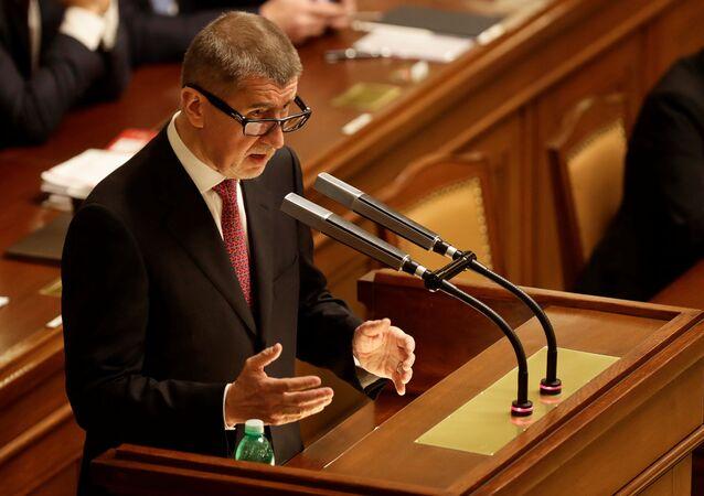 Andrej Babis, el primer ministro checo durante una sesión parlamentaria