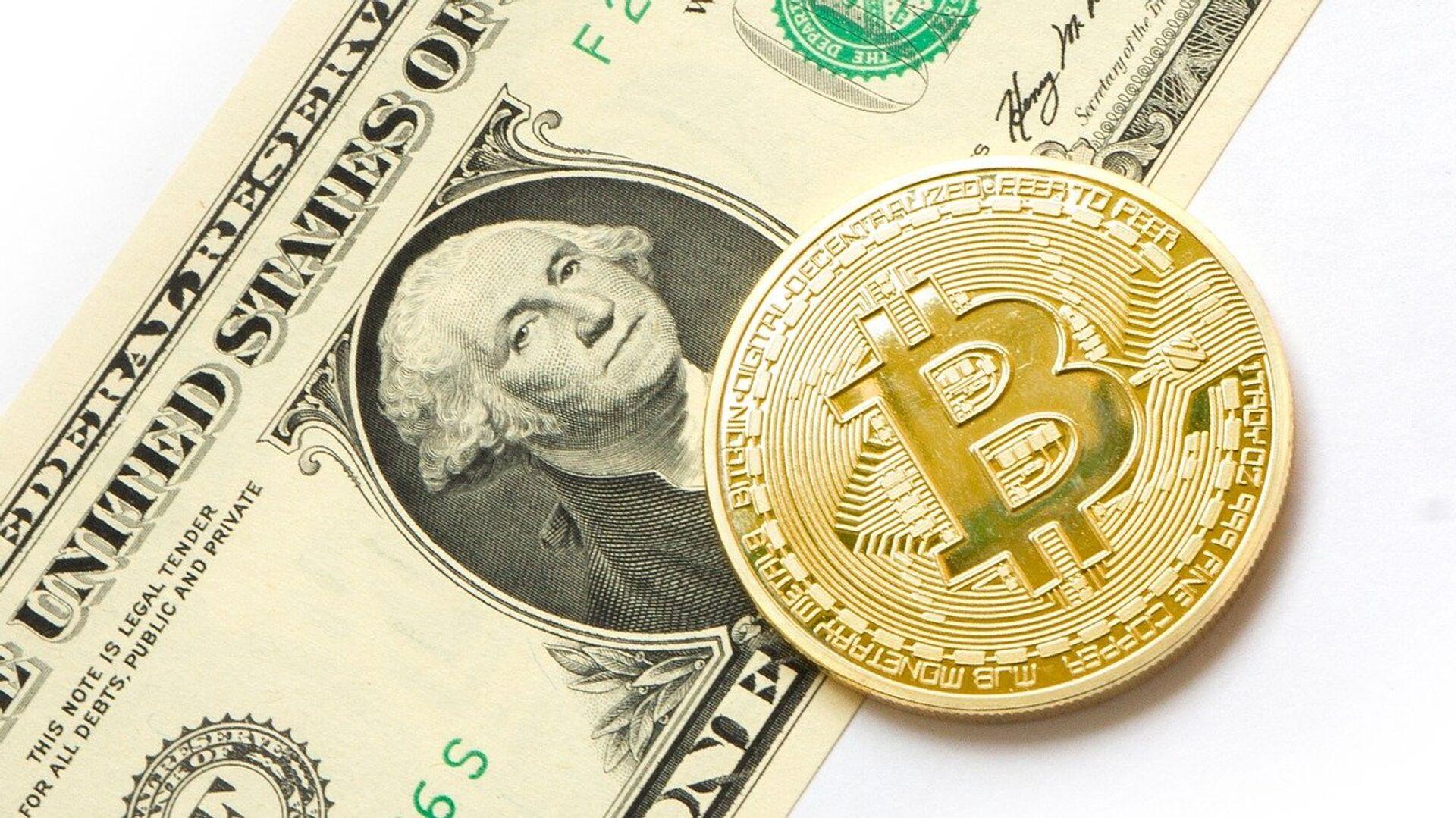 Bitcoin y dólar (imagen referencial) - Sputnik Mundo, 1920, 17.02.2021