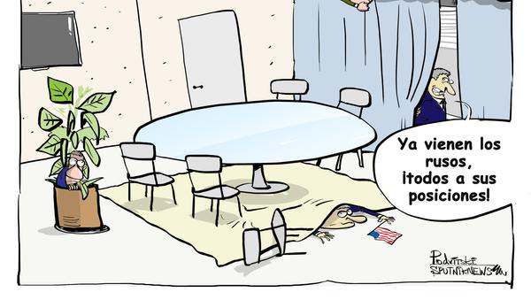 Cómo los estadounidenses 'juegan al escondite' con los rusos en Davos - Sputnik Mundo
