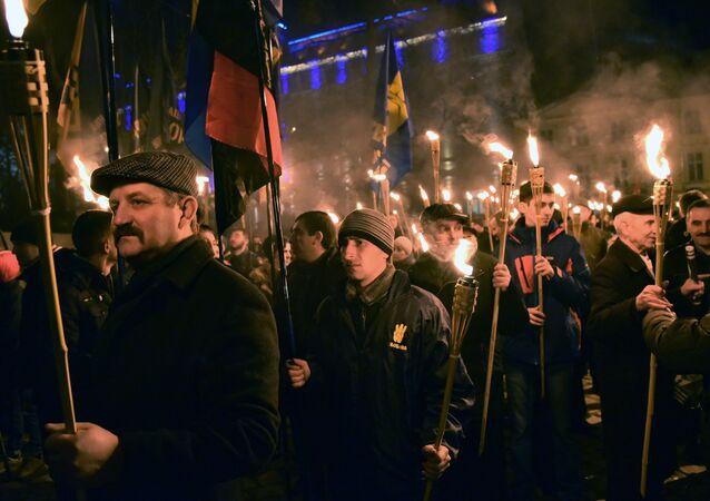 Nacionalistas ucranianos durante una manifestación (archivo)