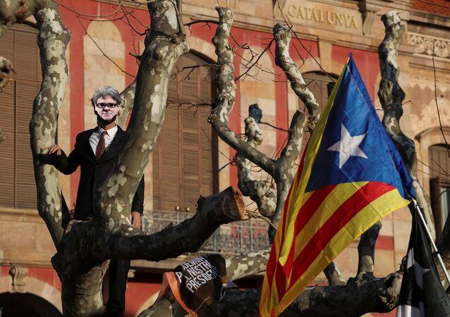 Manifestación para exigir la investidura del líder soberanista catalán, Carles Puigdemont (archivo)