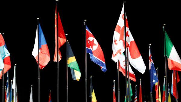 La bandera de Corea del Norte en la Villa Olímpica, en Corea del Sur - Sputnik Mundo