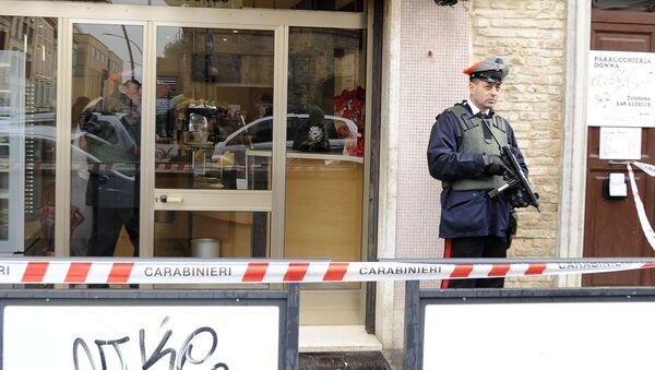 La escena del tiroteo en la ciudad italiana de Macerata - Sputnik Mundo