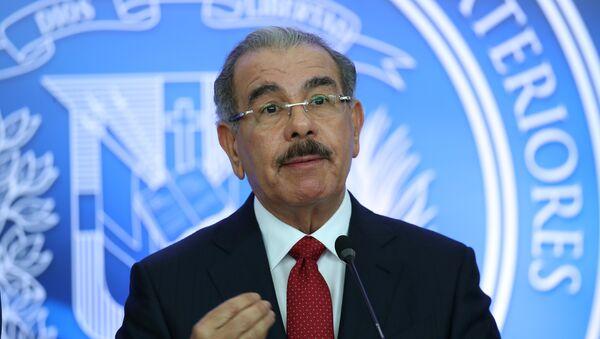 Dominican Republic's President Danilo Medina talks to the media after attending a meeting in Santo Domingo - Sputnik Mundo