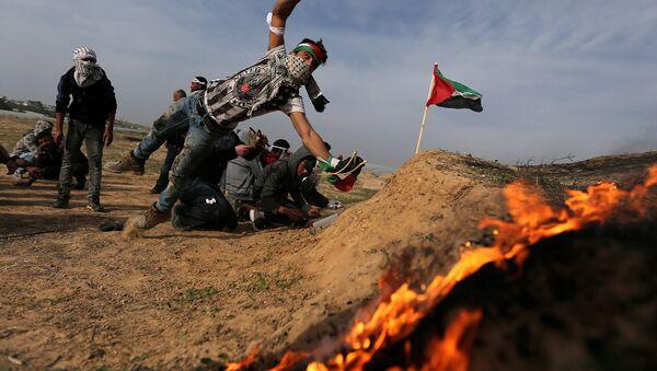 Protestas palestinas en Gaza - Sputnik Mundo