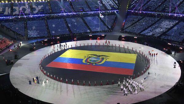 Bandera de Ecuador durante la ceremonia de inauguración de los JJOO de Invierno en Pyeongchang, Corea del Sur - Sputnik Mundo