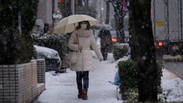 Una nevada en Tokio, Japón - Sputnik Mundo