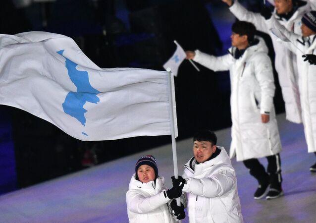 La selección unificada coreana en los JJOO del Invierno 2018 (imagen referencial)