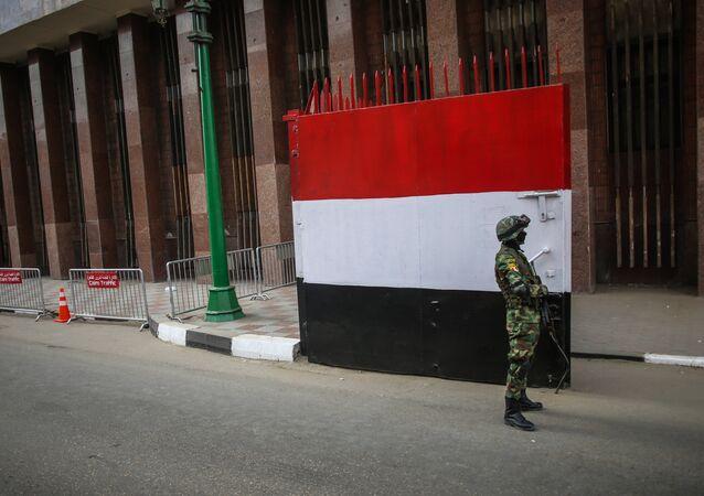 Un militar egipcio en el Cairo, la capital del país